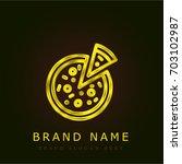 pizza golden metallic logo