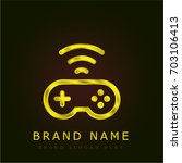 gamepad golden metallic logo
