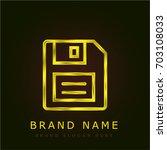 floppy disk golden metallic logo
