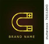 magnet golden metallic logo