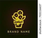 flower golden metallic logo