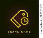 price tag golden metallic logo