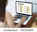 online reviews evaluation time... | Shutterstock . vector #703129843