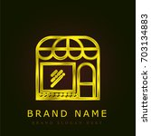 store golden metallic logo