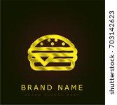 hamburger golden metallic logo | Shutterstock .eps vector #703142623