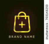shopping bag golden metallic...