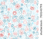 christmas seamless pattern from ... | Shutterstock .eps vector #703143793