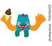 cartoon monster  vector... | Shutterstock .eps vector #703156423