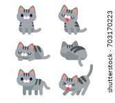 vector set of cute grey short... | Shutterstock .eps vector #703170223