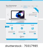 Simple homepage template with blue theme - stock vector