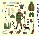 vector set of hunting and...   Shutterstock .eps vector #703202917