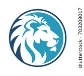 lion circle dark and sky blue | Shutterstock .eps vector #703208017