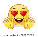 in love emoticon with open... | Shutterstock .eps vector #703267027