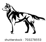standing wolf side view   black ...   Shutterstock .eps vector #703278553