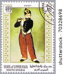 Small photo of STATE OF UPPER YAFA - CIRCA 1967: A stamp printed in State of Upper Yafa shows painting of Eduard Manet - Young Flautist or The Fifer, series, circa 1967