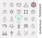religion line icon set | Shutterstock .eps vector #703303633