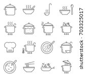 simple set of cooking related... | Shutterstock .eps vector #703325017