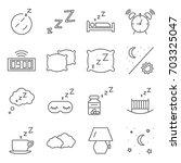 simple set of sleeping related... | Shutterstock .eps vector #703325047