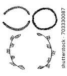 set of black and white... | Shutterstock .eps vector #703330087