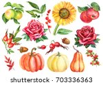 painting watercolor. autumn set ... | Shutterstock . vector #703336363