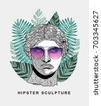 hipster classical sculpture.... | Shutterstock .eps vector #703345627