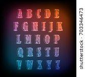 neon glow alphabet vector... | Shutterstock .eps vector #703346473