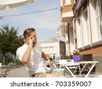 talking with friends. confident ... | Shutterstock . vector #703359007