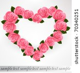 pink roses heart shape. vector...