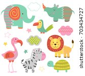Stock vector set of isolated baby jungle animals part vector illustration eps 703434727