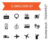 set of 12 editable trip icons.... | Shutterstock .eps vector #703444927