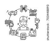 set mechanic service station... | Shutterstock .eps vector #703448893