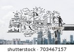 businessman in suit drawing