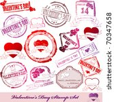 Vector Set of Valentine Day stamps - stock vector