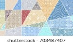 vector patchwork quilt pattern. ... | Shutterstock .eps vector #703487407