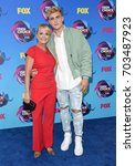 Small photo of LOS ANGELES - AUG 13: Jake Paul and Pam Stepnick arrives for the Teen Choice Awards 2017 on August 13, 2017 in Los Angeles, CA