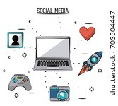 colorful poster of social media ... | Shutterstock .eps vector #703504447