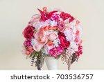 bouquet flower in vase  ... | Shutterstock . vector #703536757