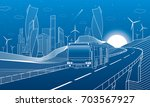 highway in mountains. bus rides ... | Shutterstock .eps vector #703567927