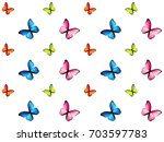 set of six colorful butterfly... | Shutterstock .eps vector #703597783