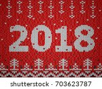 card of new year 2018 with... | Shutterstock .eps vector #703623787