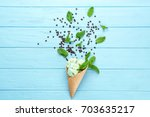composition of delicious mint... | Shutterstock . vector #703635217