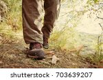 hiking shoes with red laces and ... | Shutterstock . vector #703639207