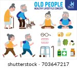 infographics retired elderly... | Shutterstock .eps vector #703647217