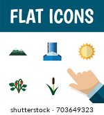 flat icon natural set of solar  ... | Shutterstock .eps vector #703649323
