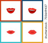 flat icon lips set of smile ... | Shutterstock .eps vector #703649437