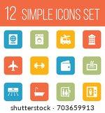 set of 12 motel icons set... | Shutterstock .eps vector #703659913