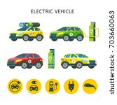 electric cars. set of vector... | Shutterstock .eps vector #703660063