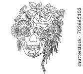 line art design of skull... | Shutterstock .eps vector #703665103