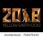 2018 and dog is symbol of new...   Shutterstock .eps vector #703670143