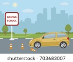 driving school concept with car ...   Shutterstock .eps vector #703683007